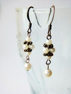 Timeless Dainty Beaded Cream Pearls Copper Earrings Women Ladies Gifts | LittleApples - Jewelry on ArtFire