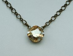 Swarovski Crystal Necklace -  Sabika Inspired -  One Stone  12mm Cushion Cut Pendant   - Golden Shadow