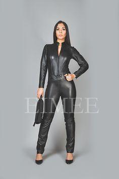 3444cd0918c2 Skin Tight Suit Black Leather playsuit Jumpsuit PAULETTA Tight Suit