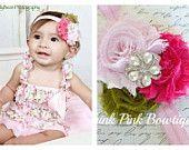 Floral  petti lace romper and headband SET, petti romper,baby headband, flower headband,vintage inspired headband and lace petti romper