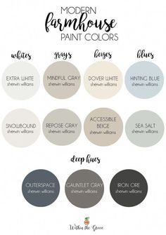 Modern Farmhouse Paint Colors Needing to find a neutral paint color scheme to use throughout your home? Here are the top modern farmhouse colors by Sherwin Williams. The post Modern Farmhouse Paint Colors appeared first on Mary& Secret World. Farmhouse Paint Colors, Paint Colors For Home, Rustic Paint Colors, Entryway Paint Colors, Fixer Upper Paint Colors, Modern Paint Colors, Magnolia Paint Colors, Basement Paint Colors, Dining Room Paint Colors