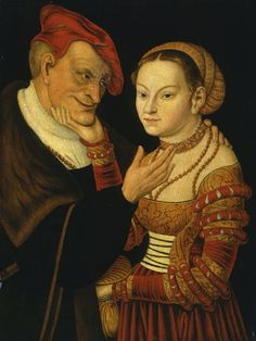 ❤ - LUCAS CRANACH (1472 - 1553) - The Ill Matched Couple - 1530. Staatliches Museum Schwerin.