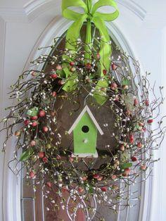 etsy spring wreaths | Spring Wreath - Birdhouse Wreath - Berry Wreath - Door Decor. $62.95 ...
