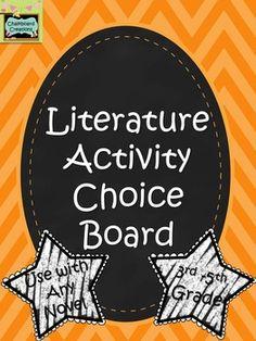 Literature Activity Choice Board: 3rd -5th Grades - FREE!