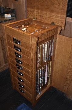 This craftsman style jewelry armoire is constructed specifically for you of solid white oak and poplar. Most joints are doweled, with the Jewelry Cabinet, Jewelry Armoire, Jewelry Box, Jewelry Closet, Jewellery Storage, Jewelry Organization, Tall Drawers, Gustav Stickley, Art And Craft Design