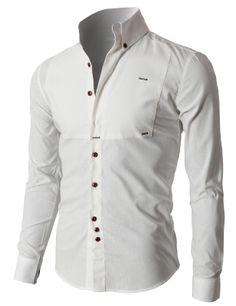 Doublju Premium Slim Fit Designed Button-down Shirts (KMTSTL0218) #doublju