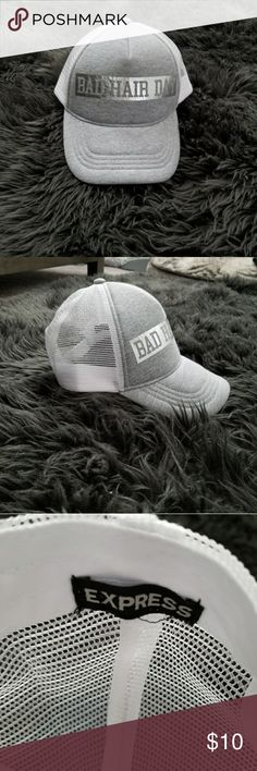 5841b5284ccd0a Shop Women's Express White Gray size OS Hats at a discounted price at  Poshmark. Trendy for lazy days, bad hair days or working out :).