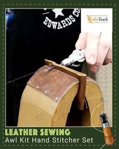 LIMITED STOCK AVAILABLE: THE BEST WAY TO REPAIR AND EMBROID LEATHER Our 5 Piece Leather Sewing Repair Kit is the ultimate and only leather repair kit you will ever need. Built to last and simple to use, this package comes with two different types of needles to fit your sewing needs. The needle is securely locked into place with the awl cap nut so you do not have to worry about it coming loose when you stitch. The awl cap top piece screws off for easy and safe storage of your needles and... Diy Crafts Hacks, Diy Arts And Crafts, Sewing Leather, Leather Craft, Sewing Hacks, Sewing Crafts, Leather Restoration, Leather Repair, Farm Crafts