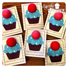 {Coworkers, Students, Parents} (A Cupcake for the Teacher) Valentine Gift Ideas! Teacher Valentine, Valentine Day Crafts, Happy Valentines Day, Holiday Crafts, Holiday Fun, Teacher Gifts, Valentine Ideas, Teacher Birthday, Teacher Treats