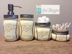 Baseball Mason Jar Bathroom Set by BUtifulDesigns on Etsy