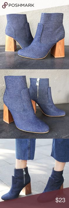 Zara Block Heels Wooden block heels. Super stylish. Super trendy. So the it Shoe!!! Zara Shoes Ankle Boots & Booties