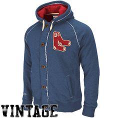 Boston Red Sox Navy Blue Cooperstown Ground Ball Vintage Heathered Full Zip Hoody Sweatshirt