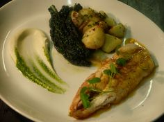 Whiting, langoustine-bisque butter. black cabbage, sauteed potato, celeriac puree