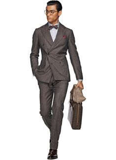 HOT SELLING wool Hand made dark grey 2 pieces six buttons wide peak lapel cheap mens suits Cheap Suits For Men, Brown Suits For Men, Dapper Suits, Mens Suits, Dapper Dan, Dapper Gentleman, Gentleman Style, Suit Supply, Gq Fashion