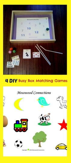 Busy Box Matching Games Printable DIY games for matching, categories, reading, speech and more!