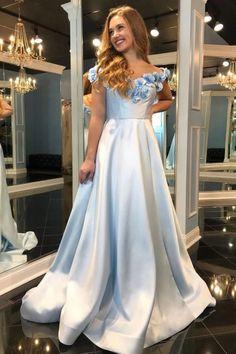 A-Line Off-the-Shoulder Sweep Train Light Blue Split Prom Dress with Flowers Pockets Split Prom Dresses, Floral Prom Dresses, Best Prom Dresses, Prom Dresses Online, Flower Dresses, Homecoming Dresses, Girls Dresses, Formal Dresses, Prom Dresses