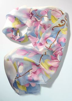 Blue silk scarf MAGNOLIA FLOWERS hand painted pastel by MinkuLUL, $58.00