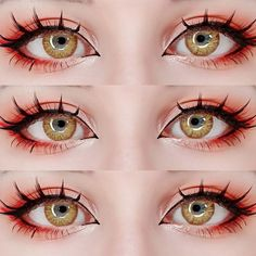 🍒Gentle sun to brighten your day! Applicable to both light & dark eyes! Get these rich and fruity colored contacts to add a pop to your summer new look now! Anime Eye Makeup, Anime Cosplay Makeup, Edgy Makeup, Makeup Inspo, Makeup Art, Makeup Inspiration, Makeup Eyes, Lolita Makeup, Doll Eye Makeup