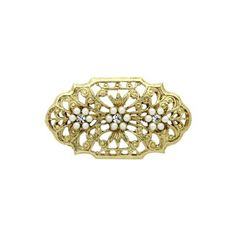 Downton Abbey Gold Pearl & Crystal Brooch