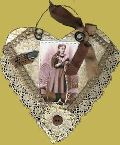 Fabric Collage Vintage Heart  How fun, this is my art from a few years ago......