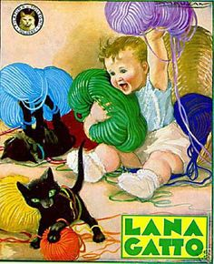 Vintage Italian black cat advertising poster for wool Éphémères Vintage, Vintage Italian Posters, Images Vintage, Vintage Advertising Posters, Vintage Labels, Vintage Ephemera, Vintage Advertisements, Vintage Prints, Black Cat Art