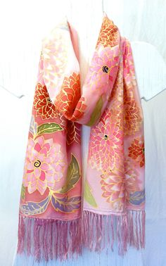 Hand Painted SIlk Scarf Fringed Pastel Pink by SilkCouturebyTakuyo, $230.00