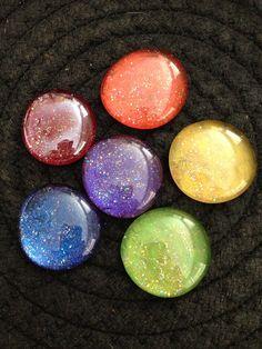 Set of 6 iridescent glitter rainbow glass by TheFuchsiaButterfly,