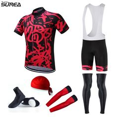 mens fashion Surea Pro Team Cycling Jersey Full Set Red Summer Cycling Jerseys Sets with Bicycle Bib Shorts and Leg Warmer MTB Ropa Ciclismo ** Detailed information can be found on AliExpress website by clicking on the VISIT button