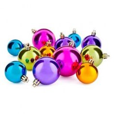 Our fantastic 12 pack of baubles come in assorted bright colours, they are part of our Jewelled Yule themed range. Look out for matching items  such as the jewel decorations, christmas garlands, tinsel tree and wrap to create thhis look.