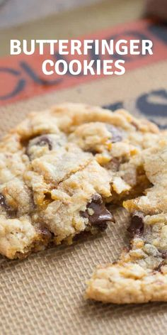 These Butterfinger cookies are slightly crispy, a little chewy and totally delicious! Each bite of these Butterfinger cookies is filled with chocolate chips and Butterfinger candies! Butterfinger Cookies, Chocolate Chip Cookies, Chocolate Chips, Chocolate Recipes, Amish Sugar Cookies, Cookies Et Biscuits, Easy Cookie Recipes, Dessert Recipes, Easy Recipes