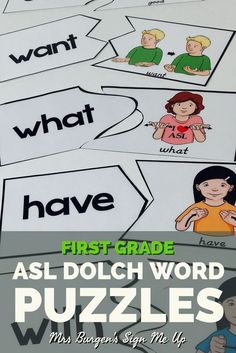 American Sign Language and Dolch Sight Word puzzles for the Kindergarten or First grade Classroom.  These are perfect for independent or guided literacy centers