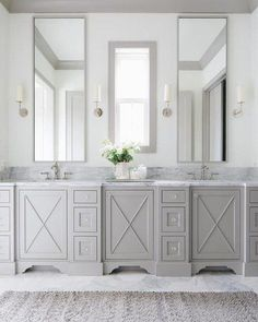 Beautiful bathroom decor tips. Modern Farmhouse, Rustic Modern, Classic, light and airy master bathroom design some ideas. Bathroom makeover a few ideas and master bathroom renovation a few ideas. White Bathroom Cabinets, Diy Bathroom Vanity, Bathroom Layout, Bathroom Faucets, Small Bathroom, Bathroom Ideas, Bathroom Interior, Bathroom Designs, Bathroom Mirrors