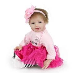 59.77$  Watch now - http://alimfb.shopchina.info/go.php?t=32803156257 - Smile Girl Doll 22inch Soft Silicone Reborn Baby Doll Toys 55cm Newborn Lifelike Baby Toys Brinquedos For Kids Birthday Gift 59.77$ #buyininternet