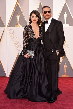 Tom Hardy and Charlotte Riley arrive at the 88th Annual Academy Awards at Hollywood & Highland Center on February 28, 2016 in Hollywood, California.