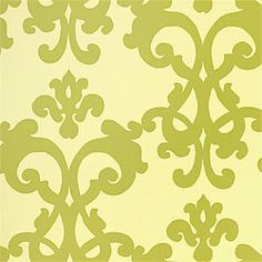 Henson #wallpaper in #lime from the Filigree collection. #Thibaut