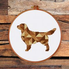 Geometric Dog Golden Retriever cross stitch pattern