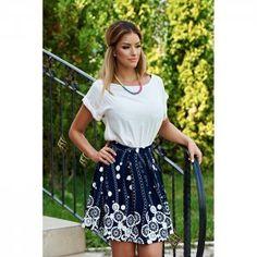 Fusta StarShinerS cu un croi evazat… Dark Blue, Spandex, Floral, Casual, Skirts, Shopping, Collection, Fashion, Atelier