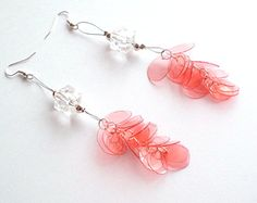 Recycled plastic bottle earrings upcycled jewelry by MayaLaMiaArte