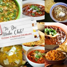 National Chili Month: 15 Favorite Chili Recipes - Here you go…. a few of my favorites!  www.GetCrocked.com