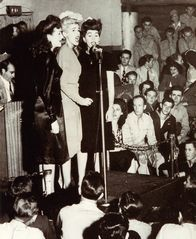 The Andrews Sisters sing for the servicemen at the Hollywood Canteen, 1944