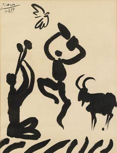 """retroavangarda: """" Pablo Picasso – Musician, Dancer and Goat (Musicien, danseur et chèvre), 1959 """""""