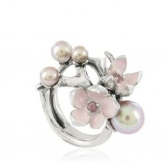 Cherry Blossom Ring by Shaun Leane -  Sterling silver ring with pink enamel rhodolite and pink pearls from astleyclarke.com
