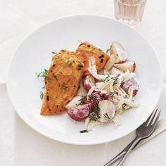 Mustard-Broiled Salmon with New Potato Salad | MyRecipes.com