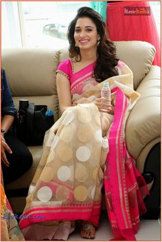 Pink and Beige Saree / Tamannaah
