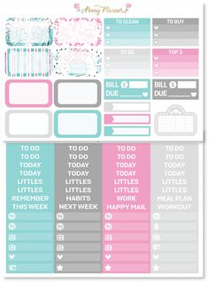 One set of Tiffany Gone Shopping planner sticker kit perfect for no white space decorative planning Sized to fit Erin Condren life planner but can be used for any other planner This full kit includes: 1 sheet of 8 full boxes 1 sheet of 8 ombre heart checklists 1 sheet of half