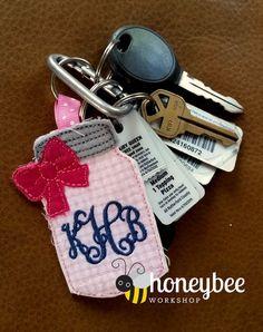 mason jar key fob keychain bow embroidery by designsbylittlebee