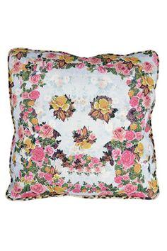 Skulls n blooms cushion