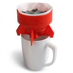 Need a little more sci-fi in your morning cup? Look no further than this sweet rocket-shaped pour-over brewer. It fits any coffee mug with a diameter less than 4″ and holds #2-size cone filters, much like the popular Hario V60 drip. It's made from BPA-free, dishwasher-safe plastic.