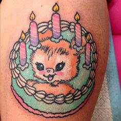 #tattoos #girly #girl #female #cake #birthday #candles #cat #frosting #piped #icing #pastel #blue