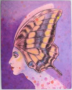 Original Art Painting Surreal Fantasy Butterfly Wings acrylic on canvas woman portrait pop surrealism. $400.00, via Etsy.